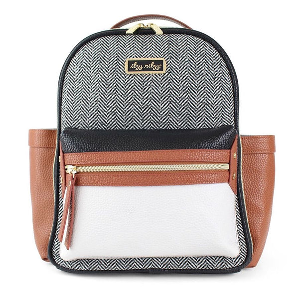 Itzy Ritzy: Mini Diaper Backpack (Coffee & Cream) - Fancy Tot