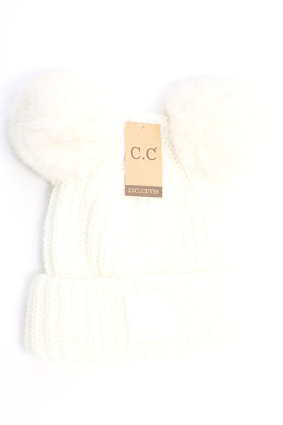 CC Beanie: Double Pom Beanie w/ Rubber Patch (Adult) (Ivory) - Fancy Tot