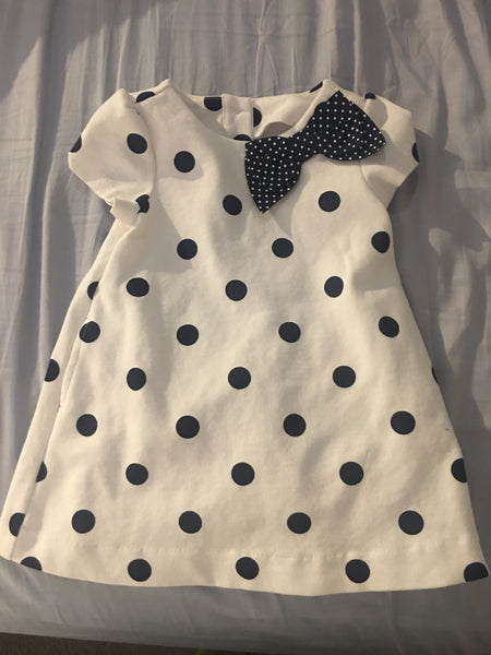 Janie and Jack Dress: (White & Navy Blue) - Fancy Tot