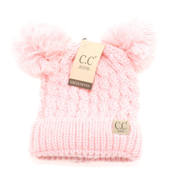 CC Beanie: Solid Double Pom Beanie (Kids) (Pink) - Fancy Tot