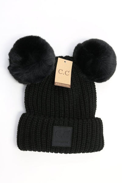 CC Beanie: Double Pom Beanie w/ Rubber Patch (Adult) (Black) - Fancy Tot