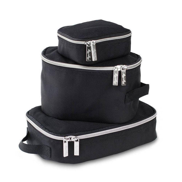 Itzy Ritzy: Packing Cubes (Black & Silver) - Fancy Tot