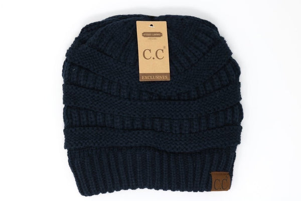 CC Beanie: Classic Fuzzy Lined Beanie (Adult) (Navy) - Fancy Tot