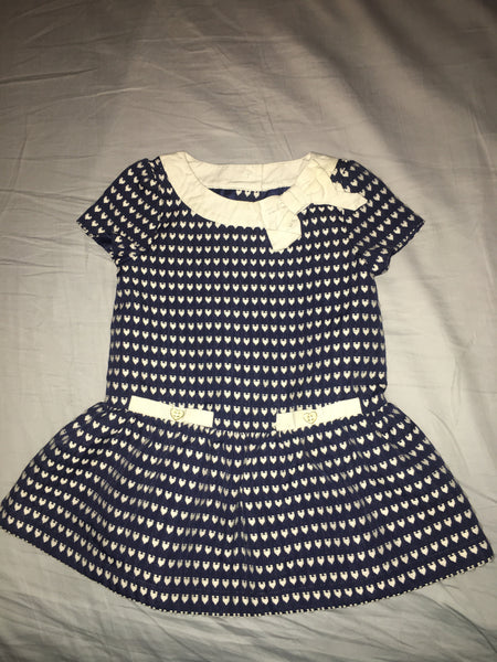 Janie & Jack Dress (Blue w/ White Hearts & Bow)