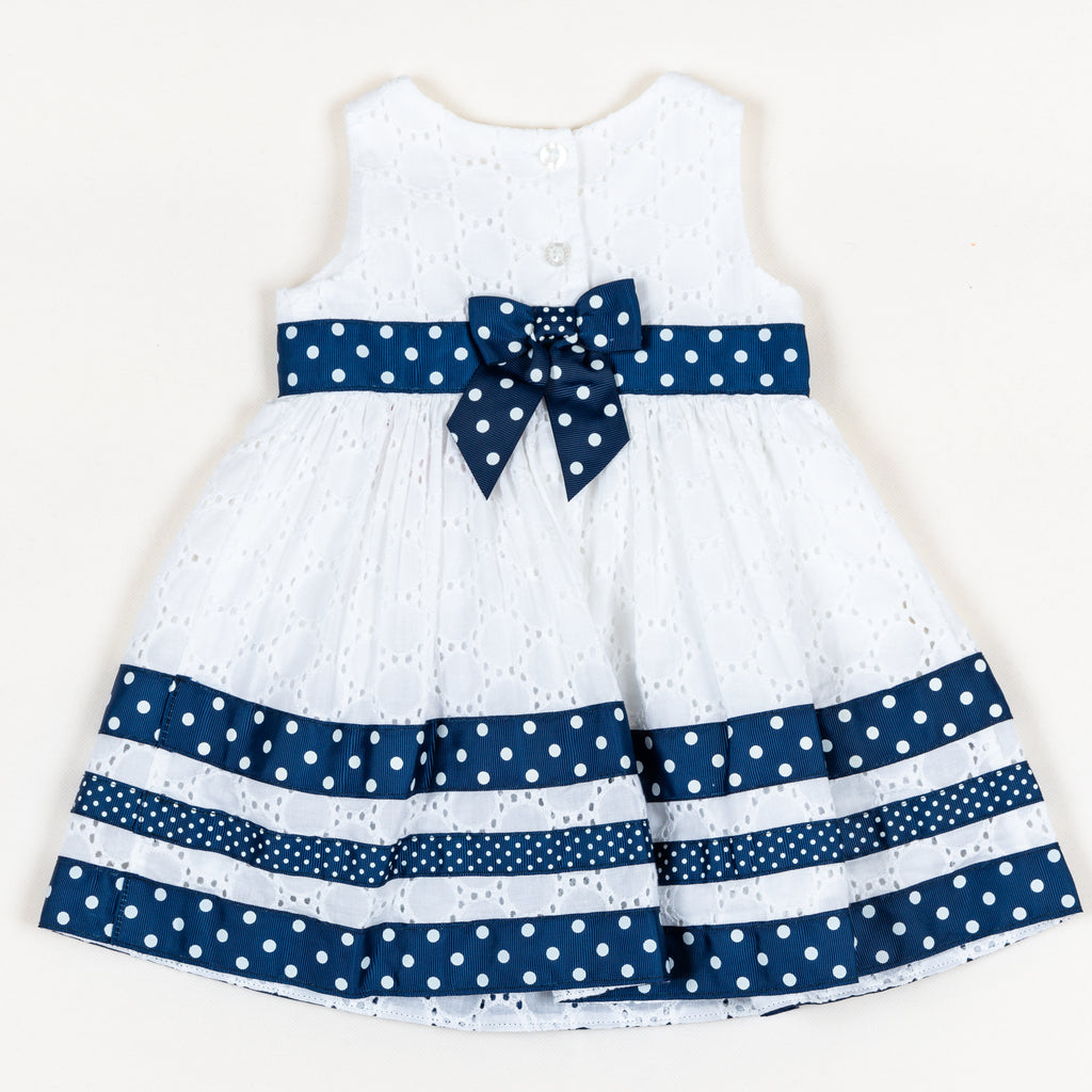 APIG5153 Navy Spot Trim Dress