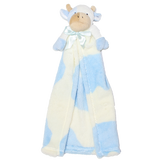 DSCB02 Cuddle Blanket Toy Blue And Cream Cow