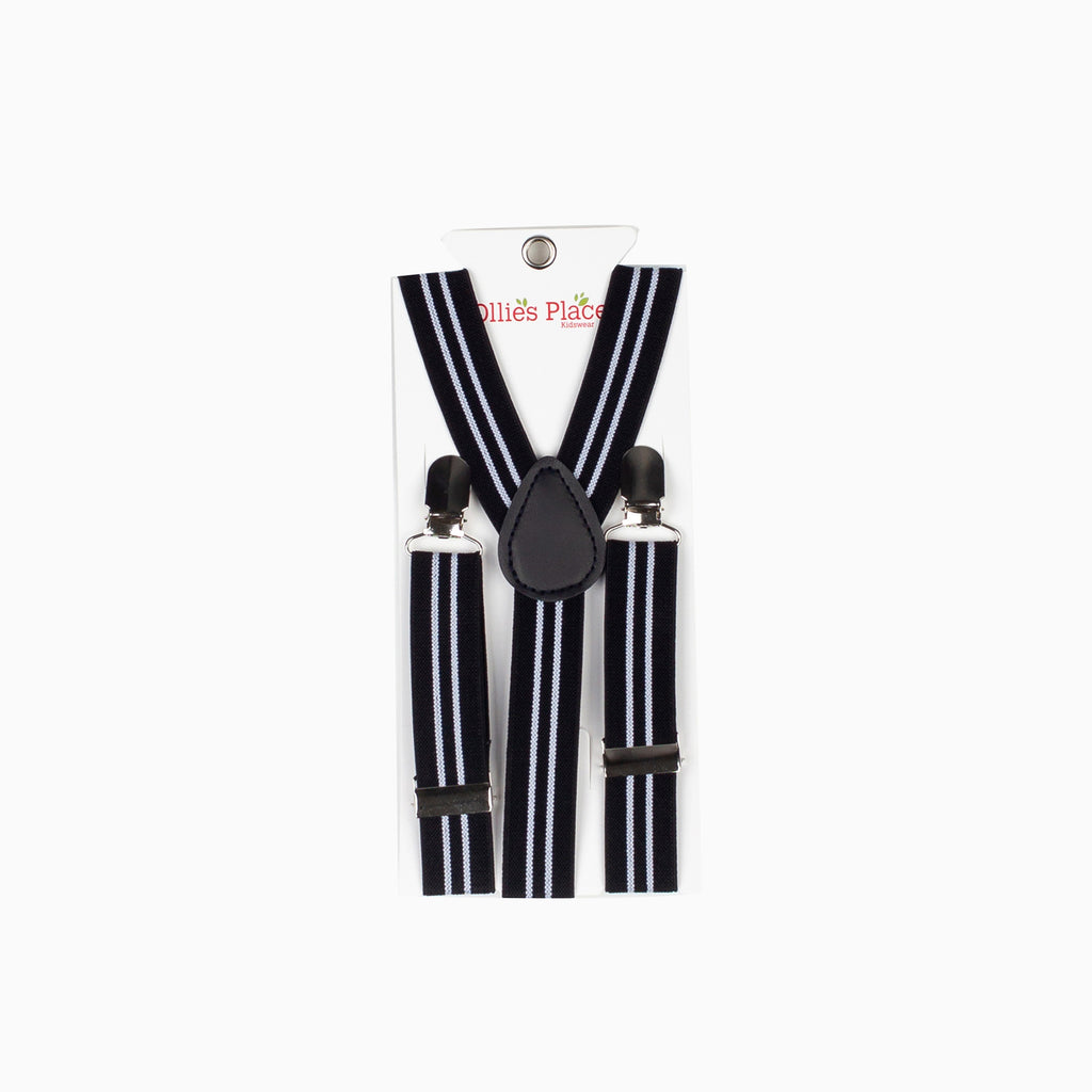 Black & White Stripe Suspenders