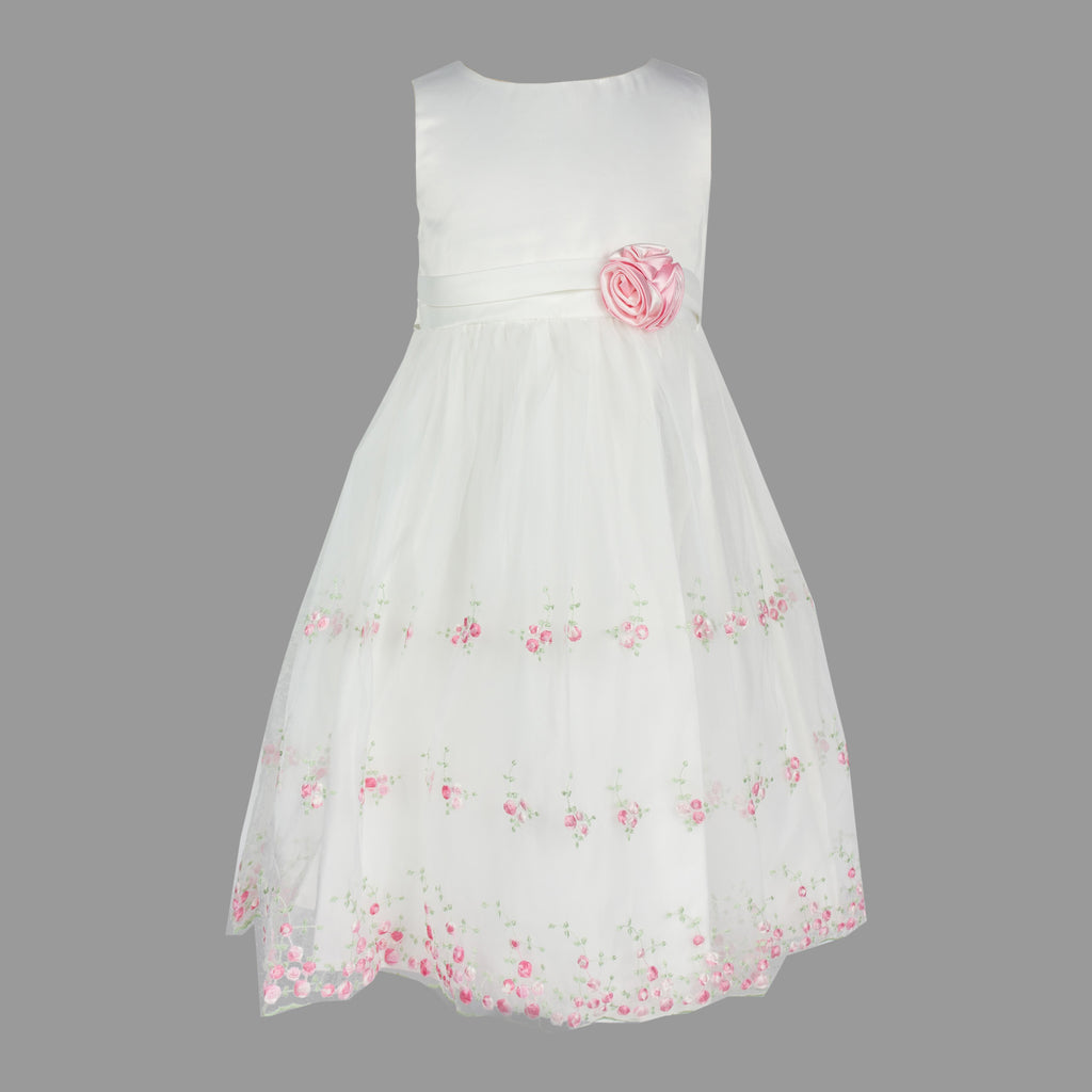 Formal Dress in Ivory with Embroidered Pink Flowers