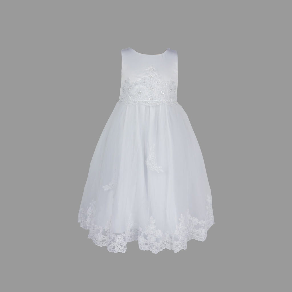 Formal Dress in White with Lace and Pearl Beading 3-5
