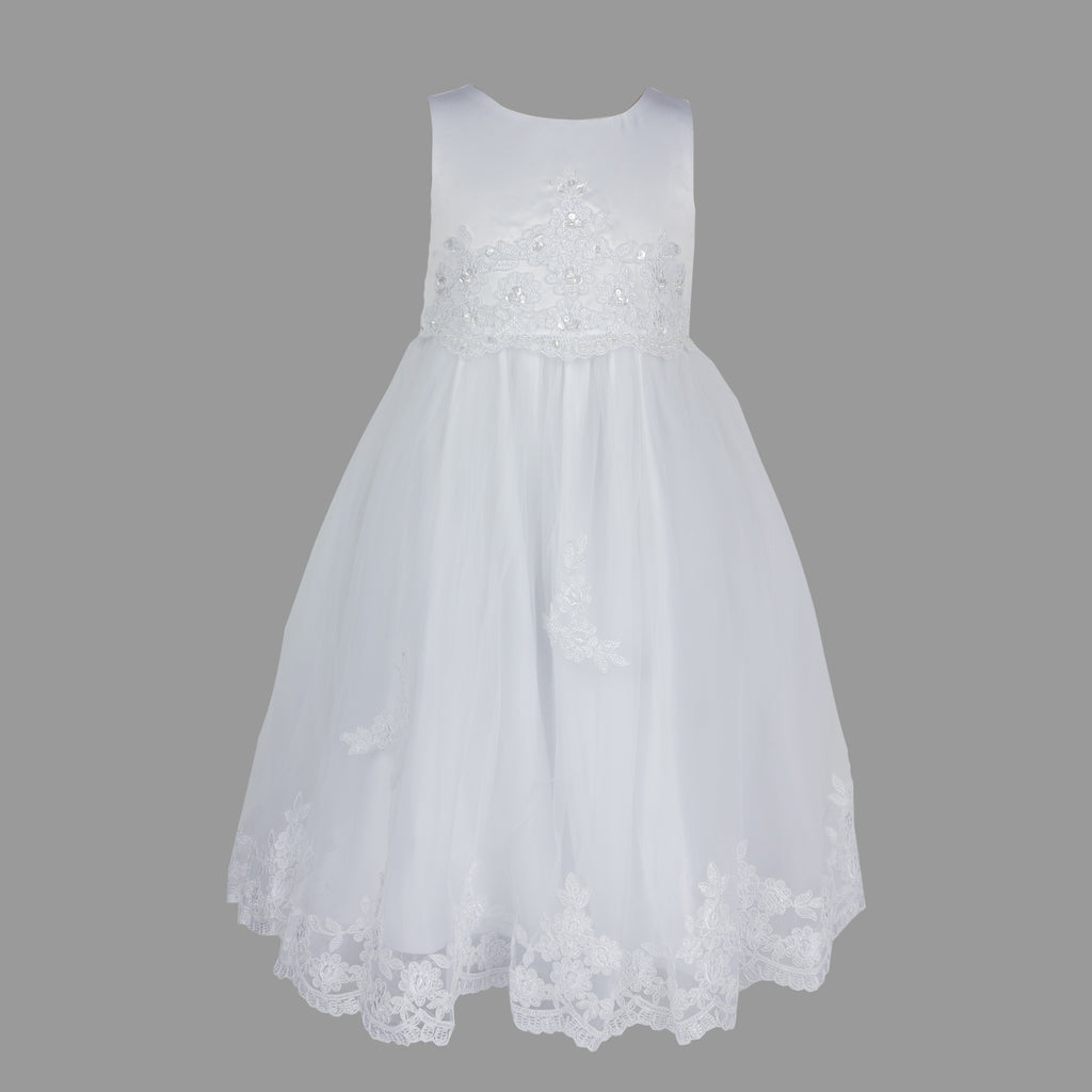 Formal Dress in White with Lace and Pearl Beading 6-12