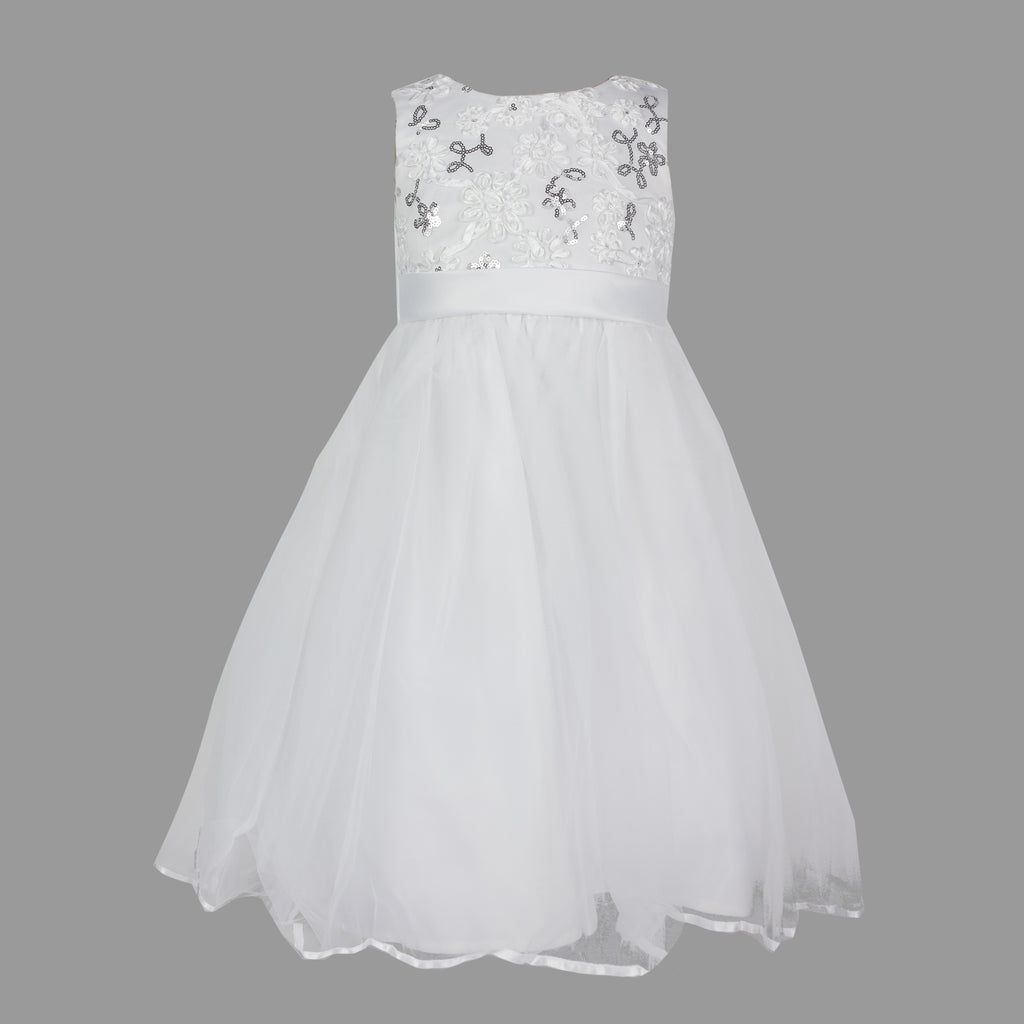 Formal Dress Tiny Dancer Sequined White and Silver 3-5