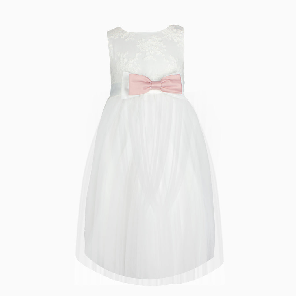 Ivory Lace Pink Bow Formal Dress