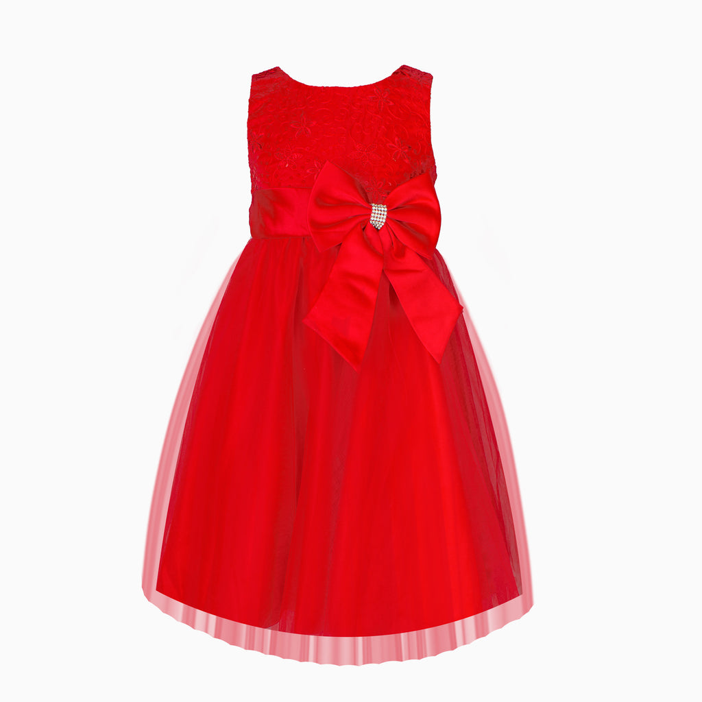 Red Sequin Diamante Bow Dress