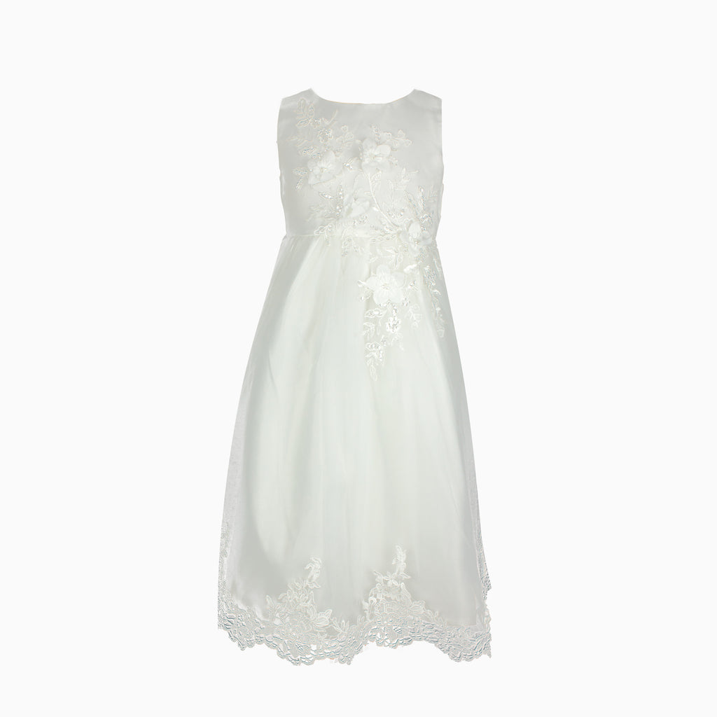 Ivory Floral Lace Formal Dress