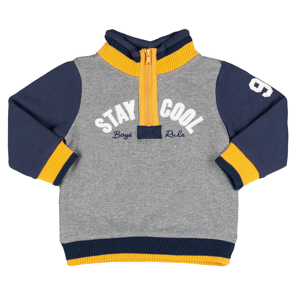 JSTB4175 Grey body Navy sleeve Mustard yellow trims Stay cool applique across chest High neck for warmth