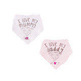 LOVE MUMMY/ I LOVE DADDY BANDANA BIB SET