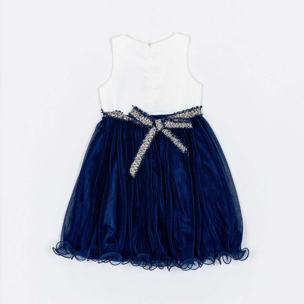 XSOG9179 Party Time Navy Pleated Skirt Dress
