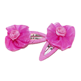 Hair Clip Hot Pink Organza Flower