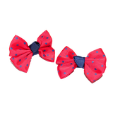 Hair Clip Red and Navy Bow