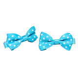 Hair Clip Aqua and White Bow
