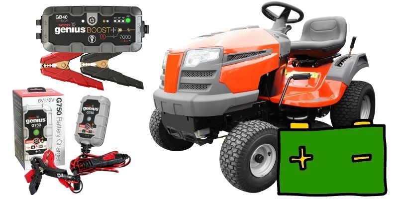 Battery chargers for lawn mowers