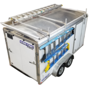 Enclosed trailer with ladders on racks