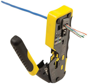 Ratcheting Modular Cable Crimper / Wire Stripper / Wire Cutter, for RJ11/RJ12 Standard and RJ45 Pass-Thru Connectors