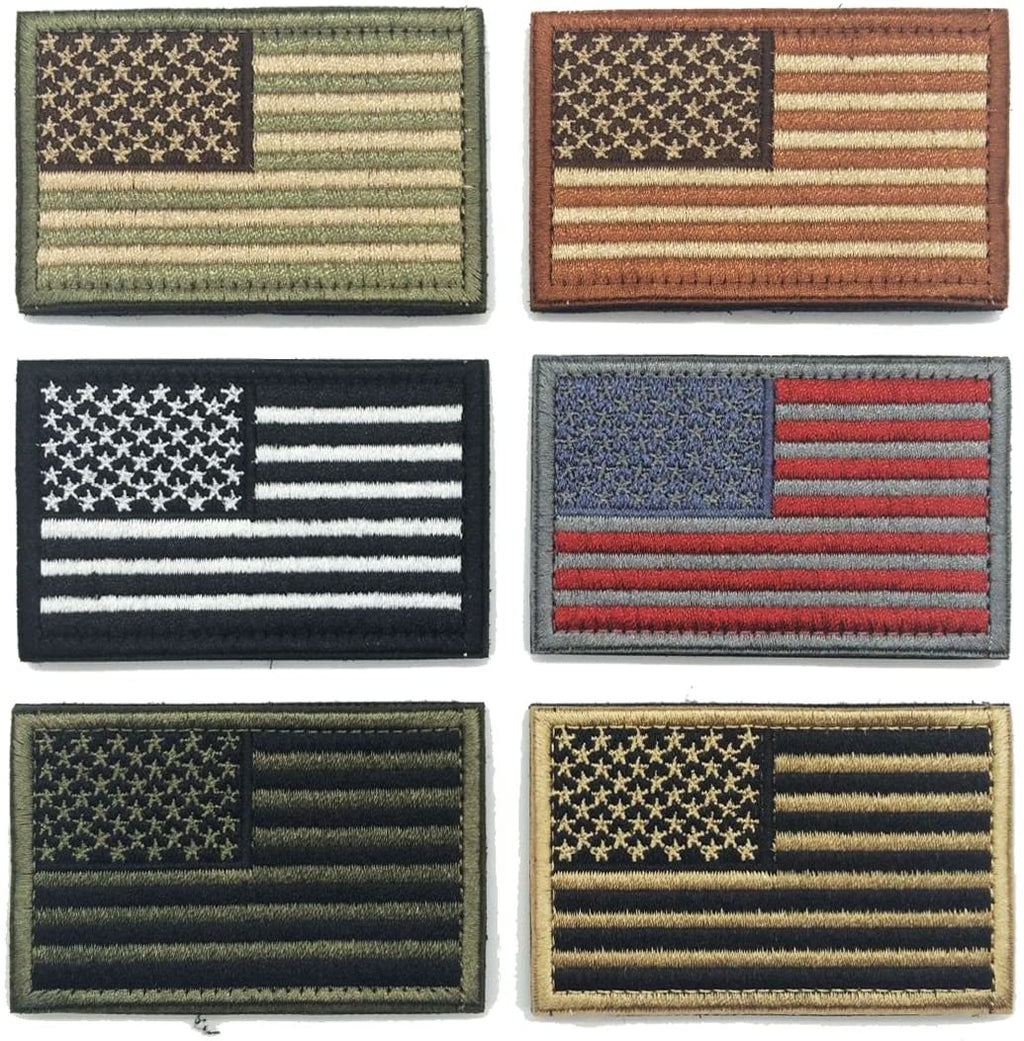 Bundle 6 Pieces American Flag Tactical Morale Military Patch Set