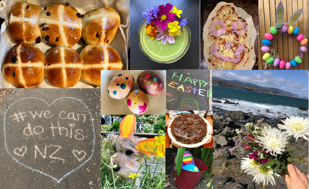 Collage of photos of our Easter in lockdown in New Zealand