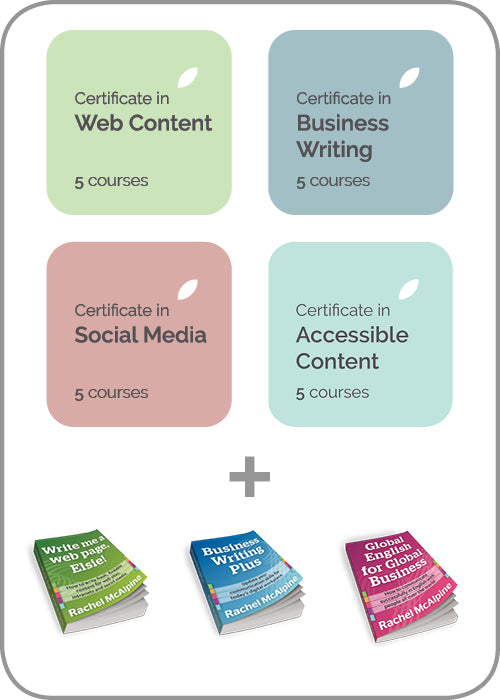 Contented subscription includes 4 training certificates in web writing, business writing, social media, content marketing and web accessibility