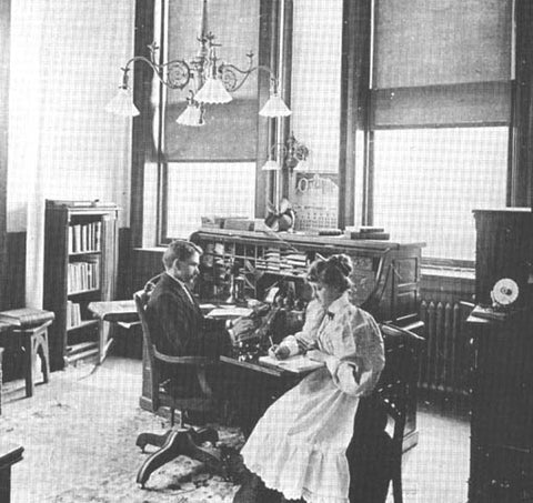 Boss and stenographer, 1896, MetLife Office NY