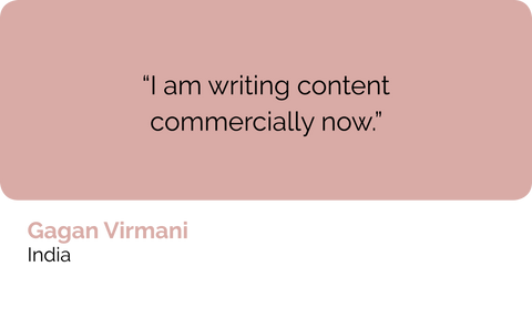 Gagan Virmani, copywriter and technical writer, India: I am writing web content and digital copy commercially now