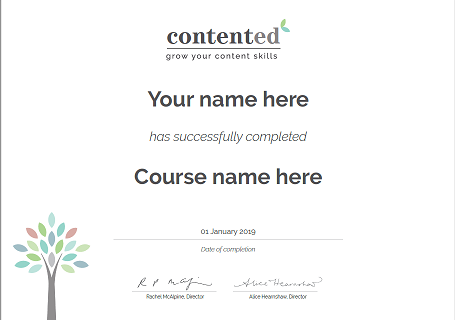 Contented training certificate