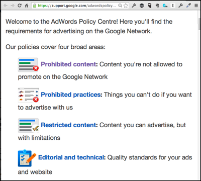 Clear concise new Google Adwords policies