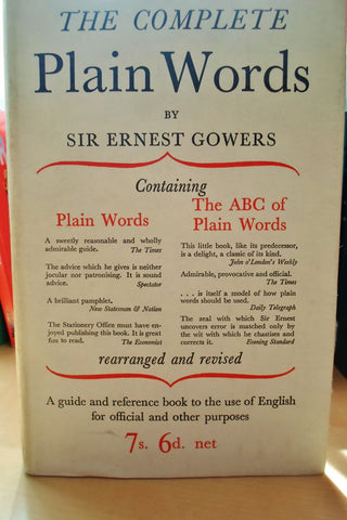 Complete Plain Words by Sir Ernest Gower. Cover, 1954