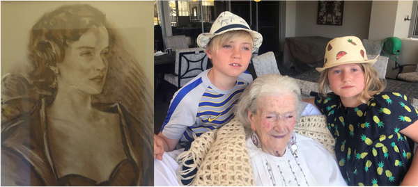 Mollie Mackenzie at 33 years of age and at 99 years of age with her great grandchildren NZ