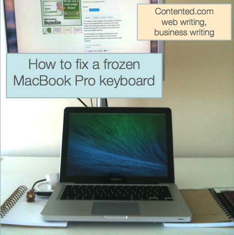 How to fix a frozen MacBook Pro keyboard: prop it up.