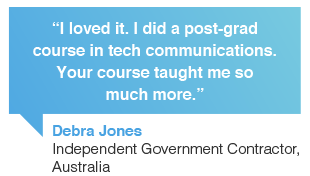 Debra Jones, government contractor, Australia: I loved Contented online writing courses. I did a post-grad course in tech communications. Your online writing course taught me so much more.