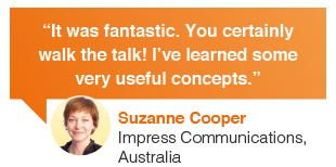 Suzanne Cooper Impress Communications Australia web content writing course review: It was fantastic. You certainly walk the talk. I have learnt some very useful digital communication concepts.