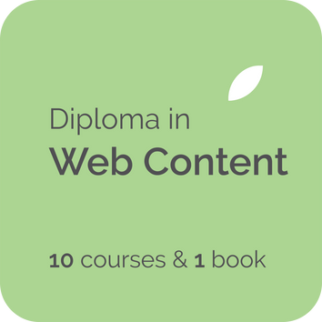 Diploma in Web Content has 10 online elearning courses for web content writers, digital content managers, content strategists, web copywriters, freelance copy writers in the UK, USA, Australia, NZ, Canada
