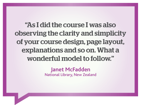 Contented courses provide a wonderful model to follow; quote by Janet McFadden, New Zealand