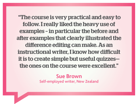 Contented course is very practical and easy to follow; quote by Sue Brown, New Zealand