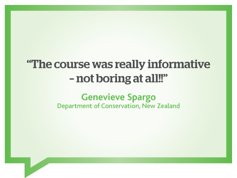 Course on web writing for online audiences was not boring at all, quote from Genevieve Spargo, Department of Conservation, New Zealand