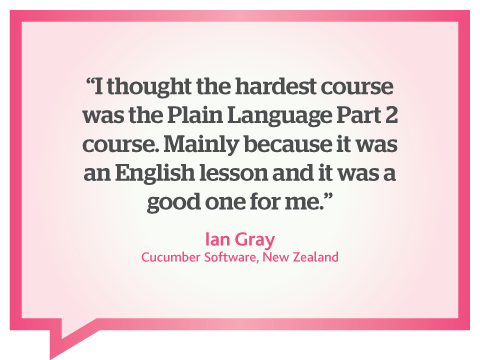 This online business writing course was a good English lesson for me, quote by Ian Gray, New Zealand