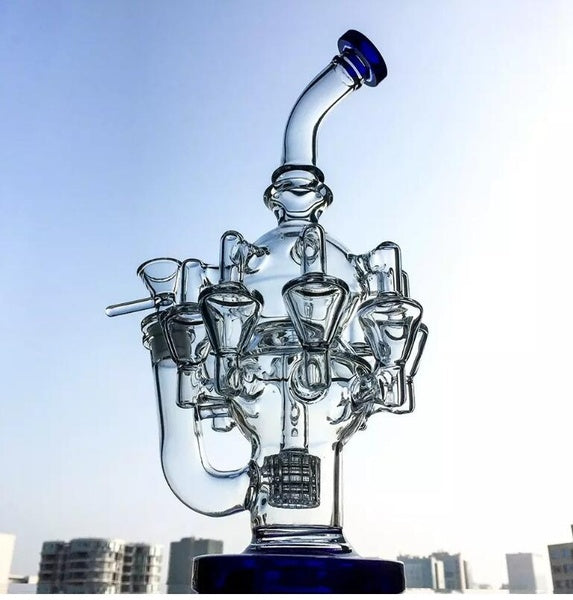 "11.8""Water Glass Pipe Recycler Oil Rig Hookah Percolator Dab Rigs For Smoking"
