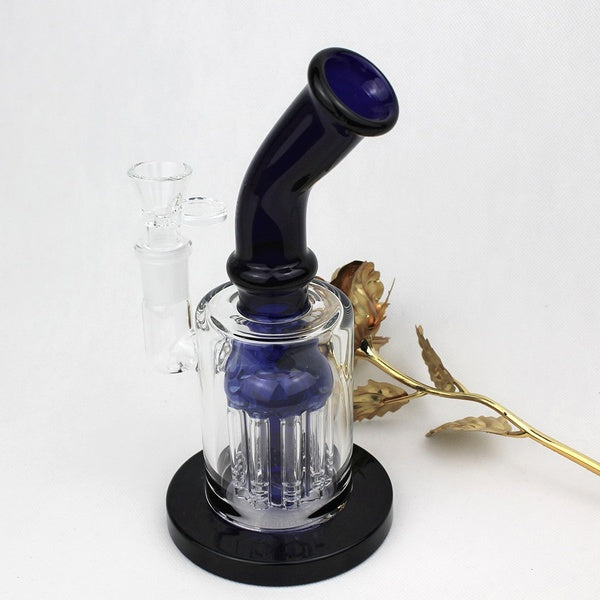 Blue Transparent Glass Water Smoking Pipe Percolator Pipes(Height:9 Inch)