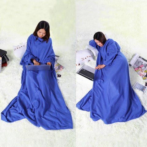 Blanket With Sleeves Wearable Sleeved
