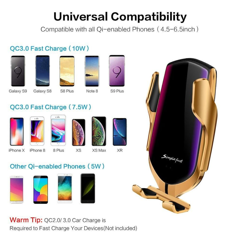 Wireless Car Charger Automatic Clamping - Mount Phone Charging Pad Magnetic iPhone Samsung Holder
