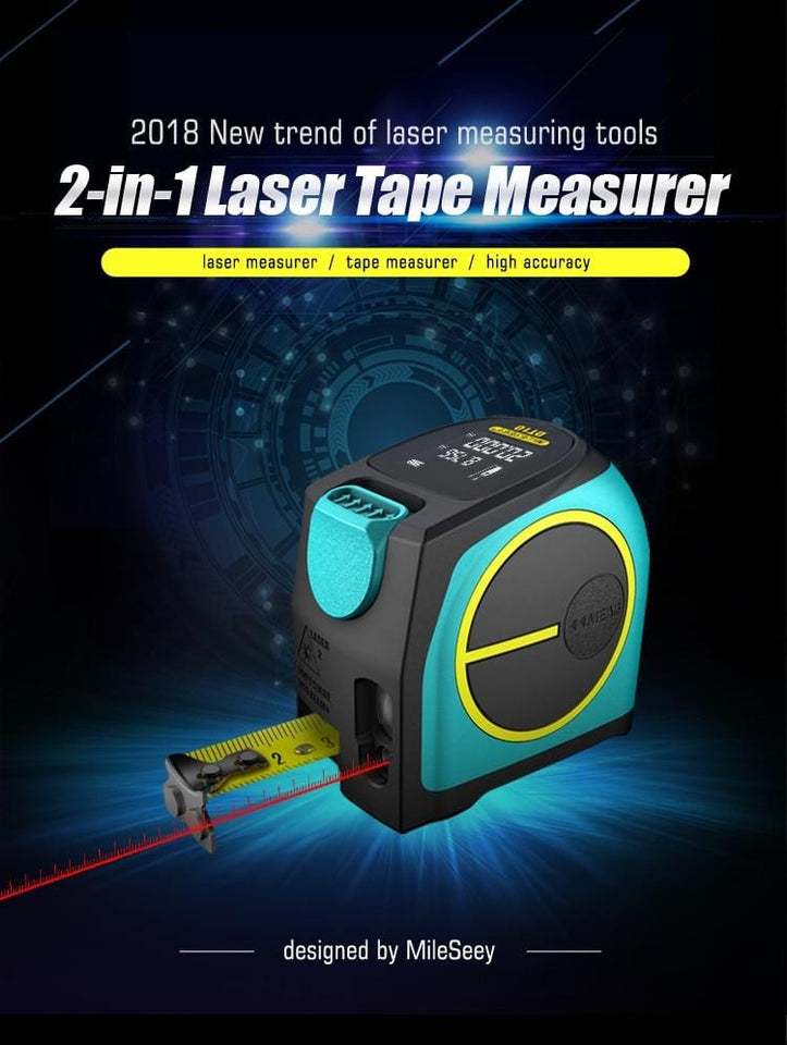 2 In 1 Laser Tape Measure Tool Electronic Distance Measurer Measuring Meter Ruler