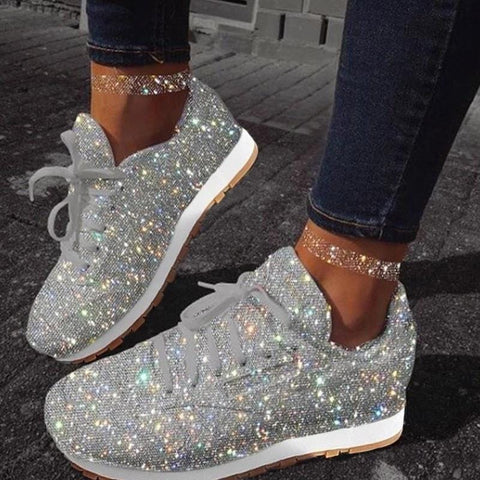 Sparkly Shoe Glitter Sneakers Womens Girls Silver Sparkle Shoes